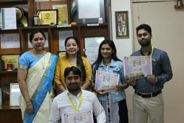 Dr Suni Mathew, Director felicitated our students who received Three  Awards at NCED India ANNUAL NATIONAL CONFERENCE 2020 which was held in Gujrat. Ms.Ashfina Khanam,Mr.Ambuj Kushawaha, Mr.Pawan K. Mishra and Mr.Uttam Kumar  received the awards for Paper presentation, guided by Dr.Gayatri Ahuja, Lecturer, Departmernt of Education, AYJNISHD