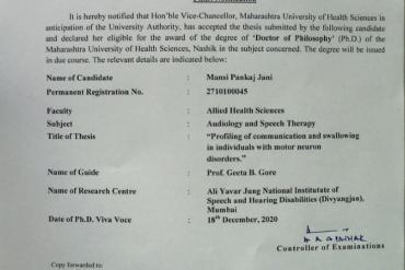 PhD notification awarded to Dr Mansi P Jain By MUHS Nashik, have been scholars from AYJNISHD 2010 Batch