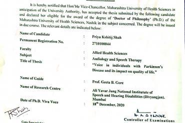 PhD notification awarded to Dr Priya K shah By MUHS Nashik, have been scholars from AYJNISHD 2010 Batch