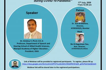 Webinar on Infection Control in Audiology and Speech Language Pathology during COVID 19 Pandemic